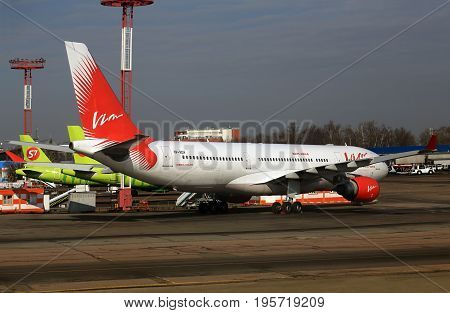 MOSCOW REGION  -  MARCH 15: Passenger jet parked for service and refueling at Domodedovo airport - on March 15, 2017 in Moscow region