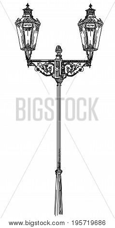 Ancient lantern isolated vector hand drawing illustration in black color on white background
