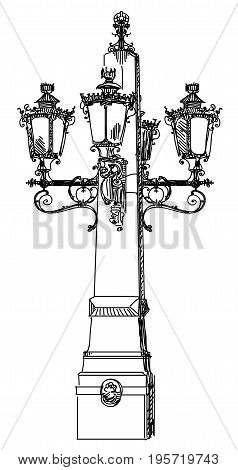 Hand drawing isolated illustration of old street lamp in black color on white background
