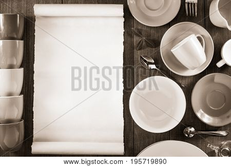 ceramic dishes set on wooden background
