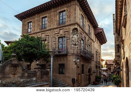 BARCELONA, SPAIN - MAY 2017: Old vintage brick building at Spanish village at Barcelona town, Catalonia, Spain