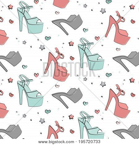 Vector Patel shoes for pole dance. Pole exotic hight heels background. Hot dance night life stripper shoes texture. Cute sport accessories silhouette illustration Strip dancer beautiful heels