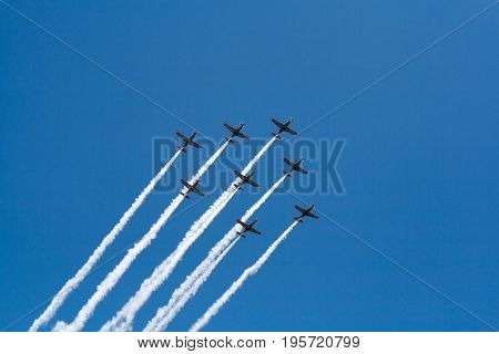 Warsaw, Poland, 15 August, 2015: Group Of Planes During Airshow On Clear Blue Sky
