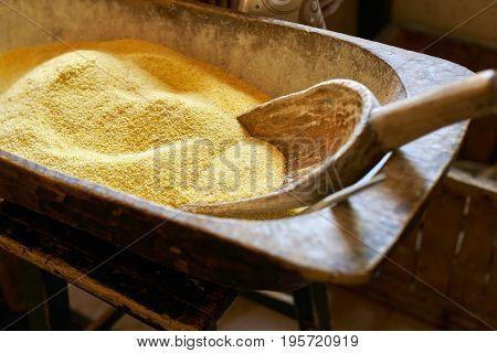 Corn Flour In A Trough
