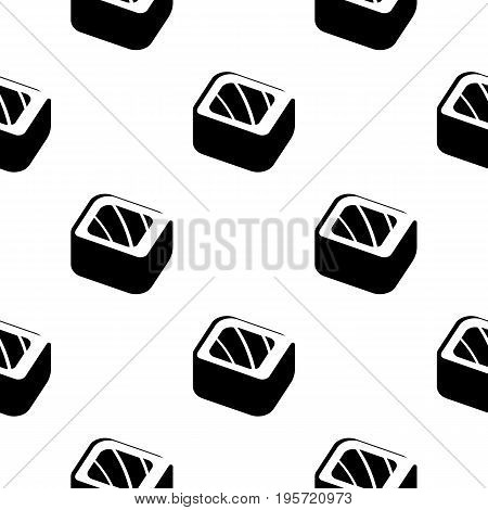 Sushi and rolls vintage seamless monochrome pattern on a wrapping paper, Japanese food vector background illustration