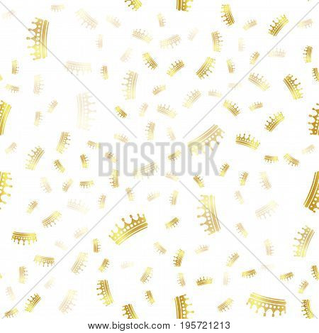 Wrapping golden sea, less pattern. Color crowns logo on white background, luxury royal sign vector texture