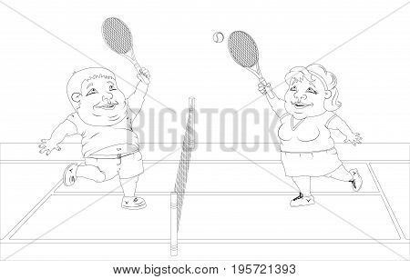 fat man and fat woman in sportswear playing tennis on the court. black and white drawing for coloring.