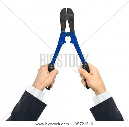Hand with tool bolt cutters isolated on white background