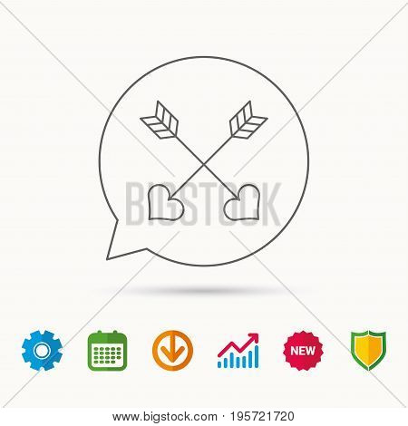 Love arrows icon. Amour equipment sign. Archer weapon with hearts symbol. Calendar, Graph chart and Cogwheel signs. Download and Shield web icons. Vector