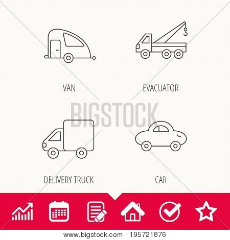 Car, delivery truck and evacuator icons. Travel van linear signs. Edit document, Calendar and Graph chart signs. Star, Check and House web icons. Vector