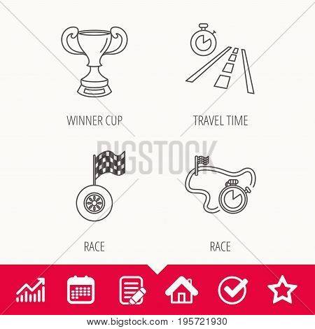 Winner cup, race timer and flag icons. Travel time linear sign. Edit document, Calendar and Graph chart signs. Star, Check and House web icons. Vector