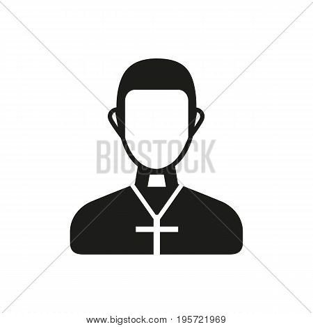 Simple icon of priest wearing cross. Christianity, pastor, Catholicism. Faith concept. Can be used for topics like religion, spirituality, culture