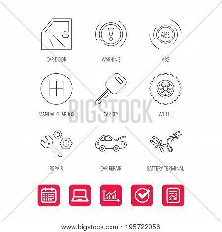 Car key, repair tools and manual gearbox icons. Wheel, warning ABS and battery terminal linear signs. Report document, Graph chart and Calendar signs. Laptop and Check web icons. Vector