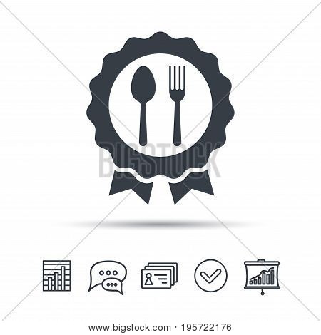 Award medal icon. Food winner emblem symbol. Fork and spoon signs. Chat speech bubble, chart and presentation signs. Contacts and tick web icons. Vector