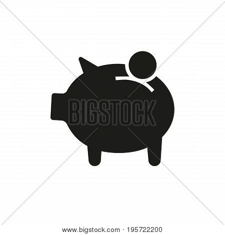 Simple icon of putting coin in moneybox. Pension, savings, economy. Money concept. Can be used for topics like banking, finance, shopping
