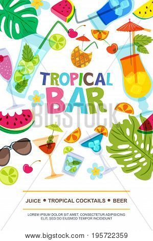 Vector Menu Design Template For Beach Bar. Sun, Palm Leaves, Watermelon And Cocktails Doodle Illustr