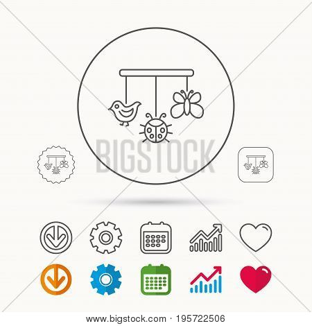 Baby toys icon. Butterfly, ladybug and bird sign. Entertainment for newborn symbol. Calendar, Graph chart and Cogwheel signs. Download and Heart love linear web icons. Vector