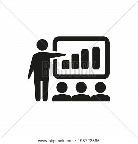 Simple icon of teacher holding lecture for audience showing presentation. Coaching, seminar, training. School concept. Can be used for topics like education, business, training courses