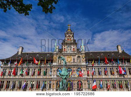 Grote Markt in Antwerp Belgium - architecture background