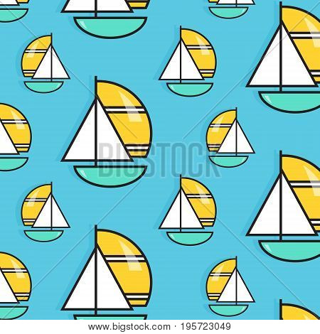 Holiday voyage pattern. Summer water trip vector wallpaper. Vacation sail boat print Small ship marine texture. Cruise decoration