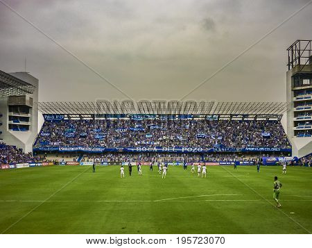 GUAYAQUIL, ECUADOR, NOVEMBER - 2016 - Soccer match between Emelec against Liga de Quito playing at the George Capwell Stadium in Guayaquil city Ecuador.