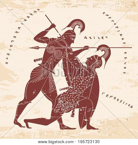 Vector illustration in ancient Greek style. Mythical plot is King Oedipus and Sphinx.