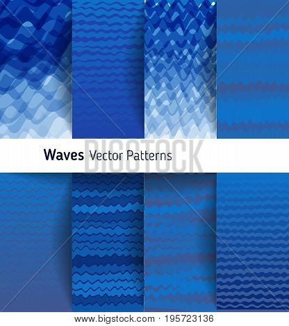 Marine vector ornamental pattern collection, blue color river waves. Abstract background pattern shades of blue art texture set