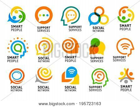 Social network for smart people with creative brain. Support services icon set. Colorful vector logo collection