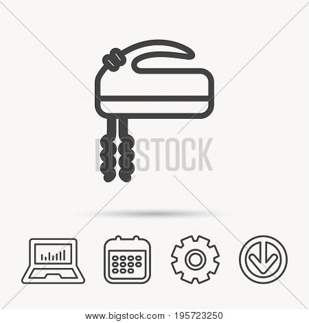 Blender icon. Mixer sign. Notebook, Calendar and Cogwheel signs. Download arrow web icon. Vector