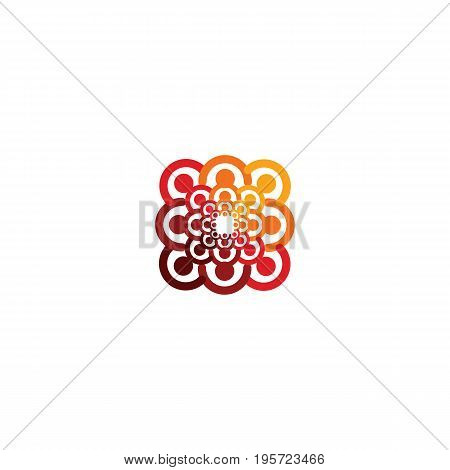 Abstract vector logo depicting the stylized people, who hold hands and are united in a union, human help and cohesion