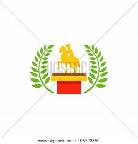 Icon of horse riding trophy. Jockey, victory, award. Contest concept. Can be used for topics like competition, sport.