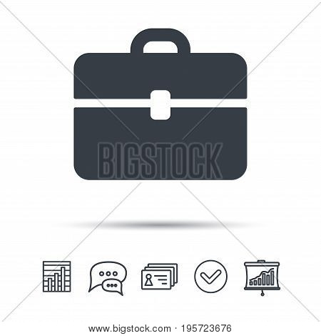 Briefcase icon. Diplomat handbag symbol. Business case sign. Chat speech bubble, chart and presentation signs. Contacts and tick web icons. Vector