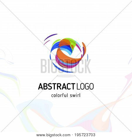 Colorful twisting swirl abstract logo. Curled dynamic circle shape, movement vector logotype. Brush stroke vector illustration