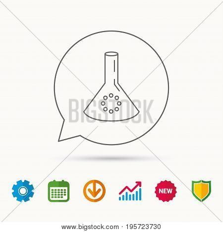 Laboratory bulb or beaker icon. Chemistry sign. Science or pharmaceutical symbol. Calendar, Graph chart and Cogwheel signs. Download and Shield web icons. Vector