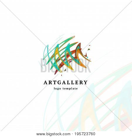 Abstract art gallery vector modern logo. Unusual isolated paint picture logotype. Bright colorful creative sketch smearing art