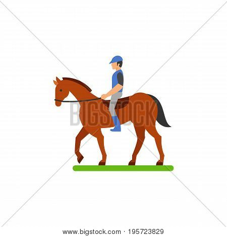 Icon of horseback rider. Equestrian, jockey, dressage. Horse riding concept. Can be used for topics like sport, activity