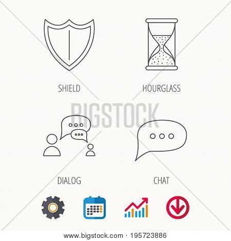 Dialog, chat speech bubbles and shield icons. Protection, hourglass linear signs. Calendar, Graph chart and Cogwheel signs. Download colored web icon. Vector