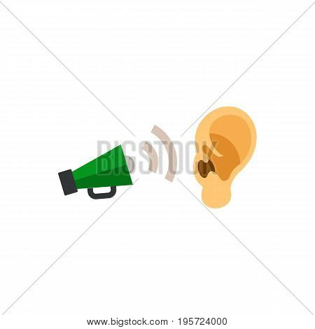 Icon of ear and megaphone. Announcement, noise, message. Advertisement concept. Can be used for topics like deafness,  broadcasting, commercial