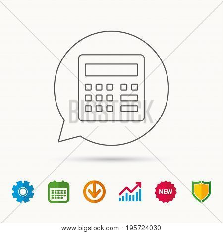 Calculator icon. Accounting sign. Balance calculation symbol. Calendar, Graph chart and Cogwheel signs. Download and Shield web icons. Vector
