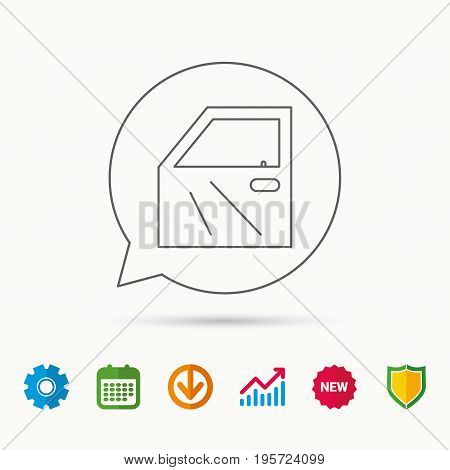 Car door icon. Automobile lock sign. Calendar, Graph chart and Cogwheel signs. Download and Shield web icons. Vector
