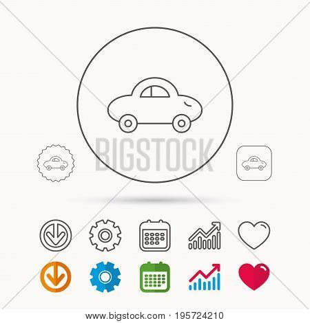 Baby car icon. Transport sign. Toy vehicle symbol. Calendar, Graph chart and Cogwheel signs. Download and Heart love linear web icons. Vector