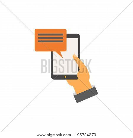 Icon of mobile advertisement. Smartphone, texting, device. Commercial concept. Can be used for topics like communication, connection, marketing