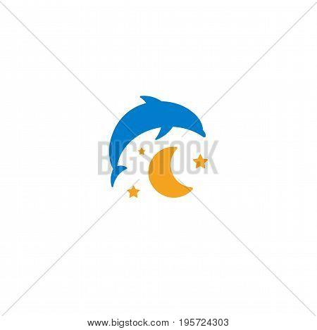 Blue dolphin, yellow moon and starry sky logo on white background. Children night light, sleep vector illustration