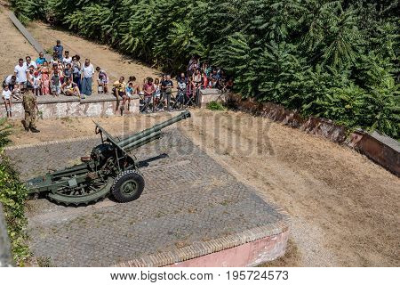 Rome Italy - August 20 2016: The canon of the Gianicolo beside Giuseppe Garibaldi Square. Sunny day of summer