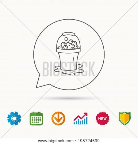 Soapy cleaning icon. Bucket with foam and bubbles sign. Calendar, Graph chart and Cogwheel signs. Download and Shield web icons. Vector