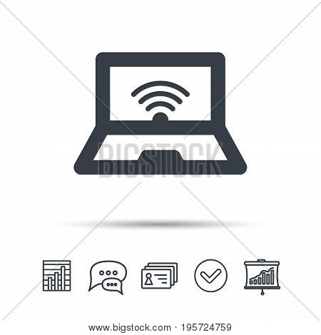 Computer with wifi icon. Notebook or laptop pc symbol. Chat speech bubble, chart and presentation signs. Contacts and tick web icons. Vector