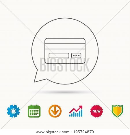Credit card icon. Shopping sign. Calendar, Graph chart and Cogwheel signs. Download and Shield web icons. Vector