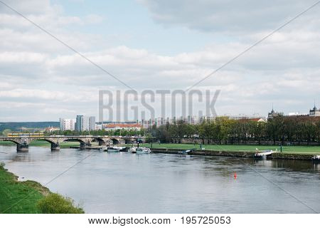 Panorama of skyline of Dresden with the river Elbe