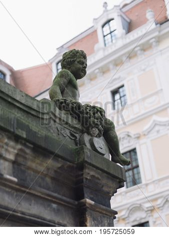 Histoirical center of the Dresden Old Town, statue of Cupid