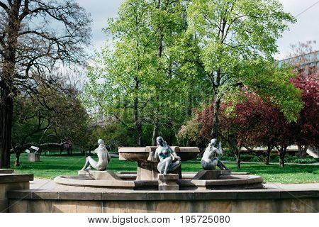 Beautiful fountain with sculptures of naked women in Dresden, Germany